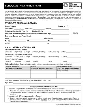 asthma self management plan pdf