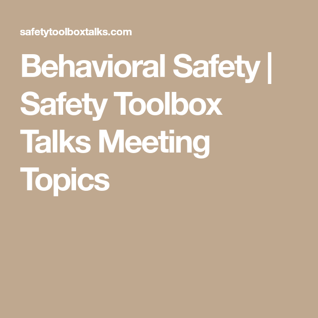 safety toolbox meeting topics pdf