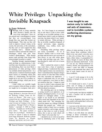 white privilege unpacking the invisible backpack pdf