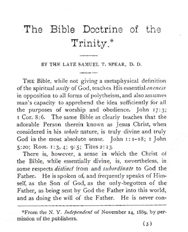the bible doctrine of the trinity samuel t spear pdf