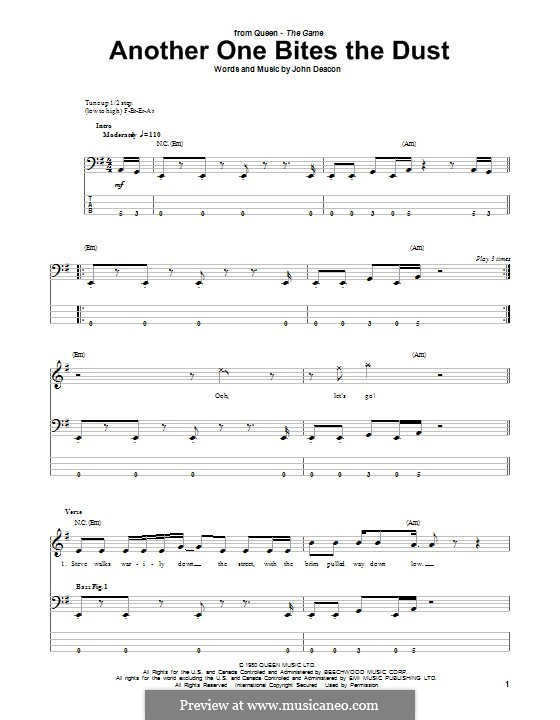 another one bites the dust bass tab pdf