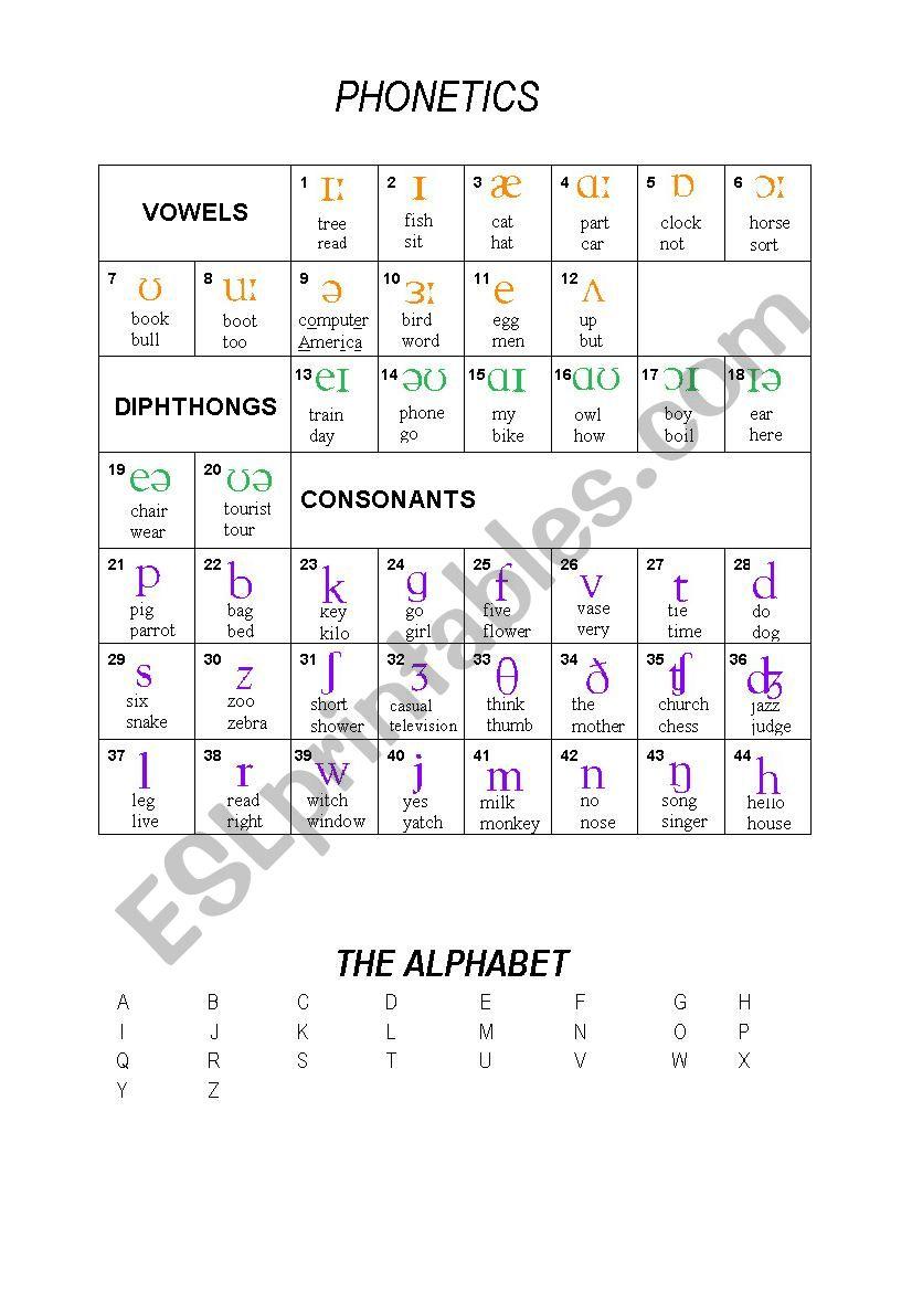 english phonetics words list pdf