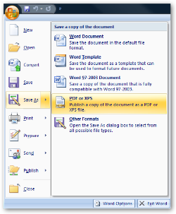 pdf or xps for office 2007