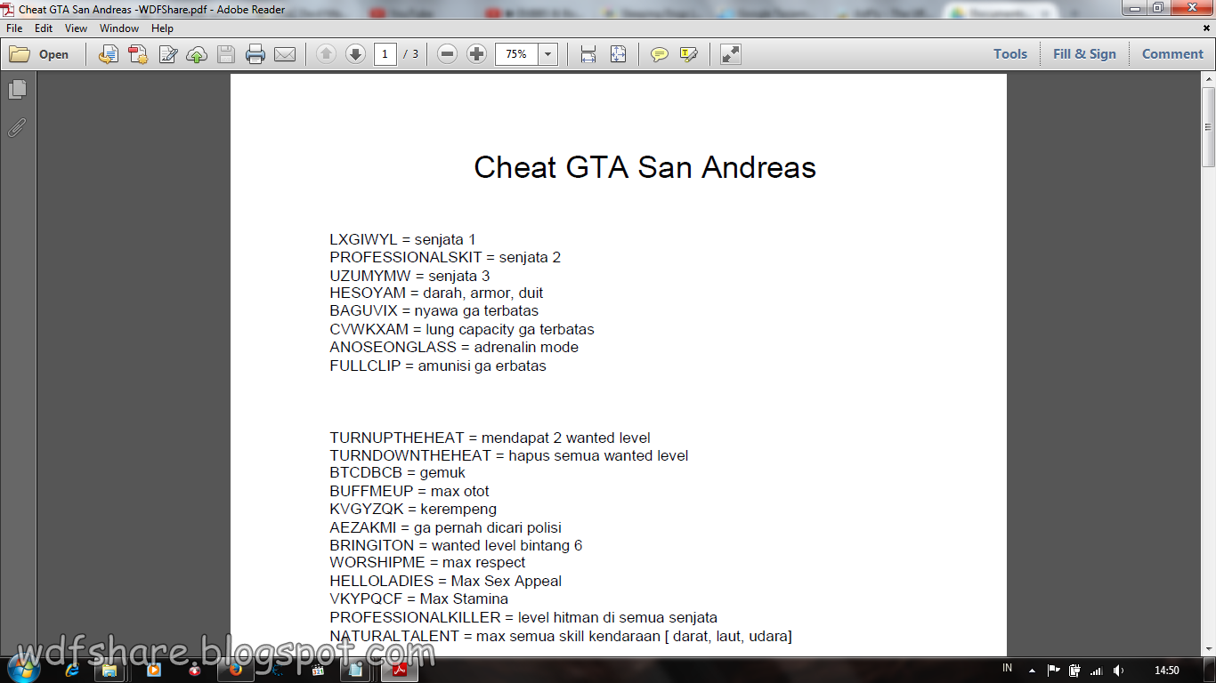 san andreas cheat codes pdf