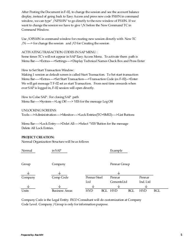 sap fico notes by satyanarayana pdf