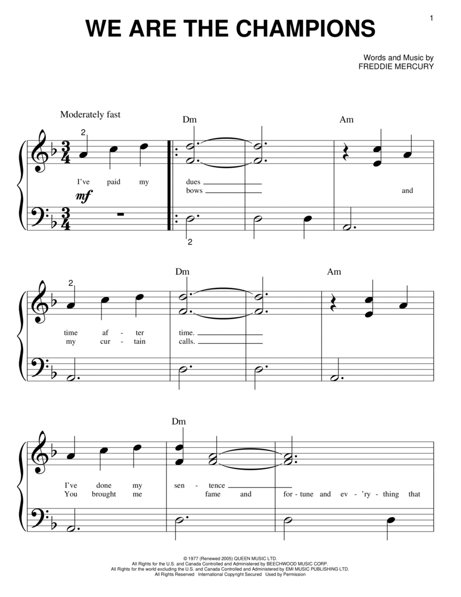 we are the champions piano pdf